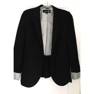 Black blazer with pinstripe roll cuffs